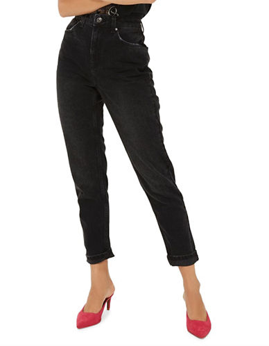Topshop MOTO Washed Black Mom Jeans 32 Inch Leg-WASHED BLACK-26X32