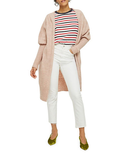 Topshop Long Line Sleeve Detail Cardigan-BLUSH-UK 14/US 10