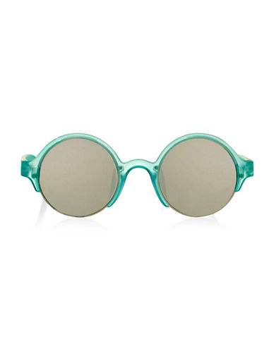 Topshop Cut-Out Round Sunglasses-TURQUOISE-One Size
