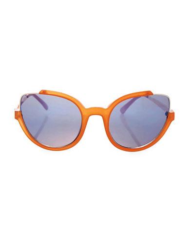 Topshop Cutaway Cateye Sunglasses-ORANGE-One Size