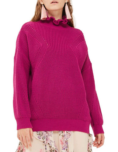 Topshop Frill Neck Longline Sweater-BRIGHT PINK-UK 10/US 6