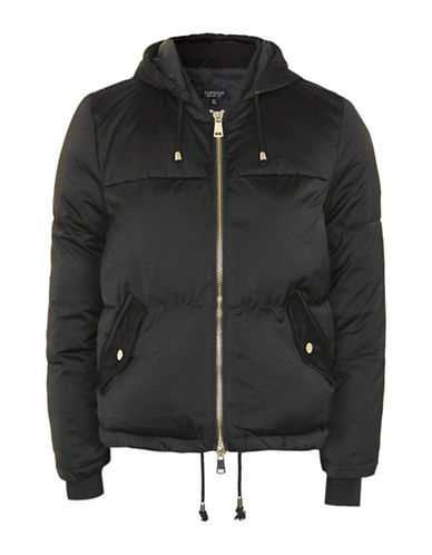 Topshop Hooded Puffer Jacket-BLACK-UK 8/US 4