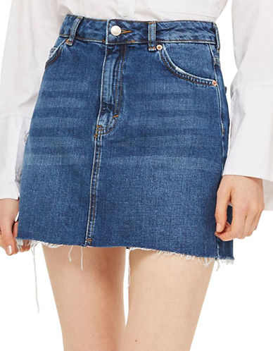 Topshop MOTO Denim Mini Skirt-DENIM-UK 10/US 6