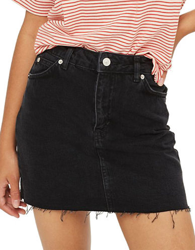 Topshop MOTO Denim Mini Skirt-WASHED BLACK-UK 10/US 6