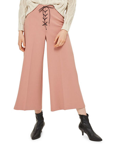 Topshop Lace-Up Crop Wide Leg Pants-ROSE-UK 8/US 4