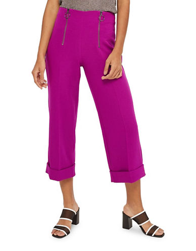 Topshop Double Zip Wide Crop Trousers-PURPLE-UK 10/US 6