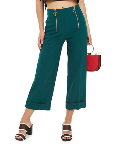 Topshop Double Zip Wide Crop Trousers-GREEN-UK 8/US 4