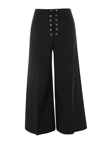 Topshop Crop Wide Leg Trousers-BLACK-UK 12/US 8