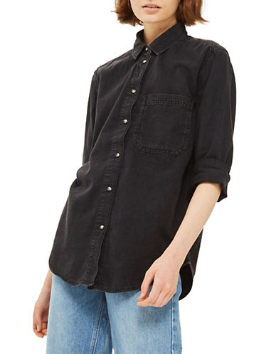 Topshop MOTO Oversized Denim Shirt-WASHED BLACK-UK 12/US 8