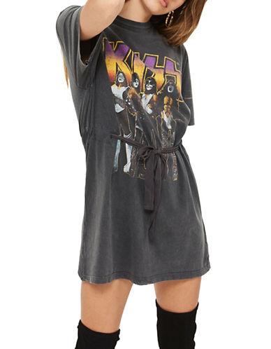 Topshop Kiss Belted Tunic Top by And Finally-CHARCOAL-UK 10/US 6