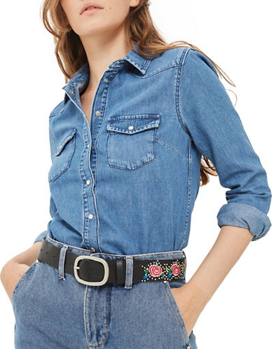 Topshop MOTO Fitted Denim Western Shirt-DENIM-UK 6/US 2