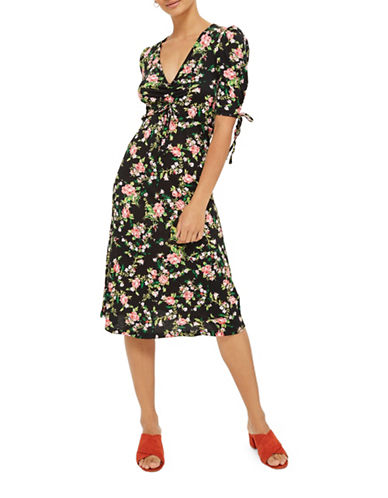 Topshop Floral Midi Dress-BLACK-UK 8/US 4