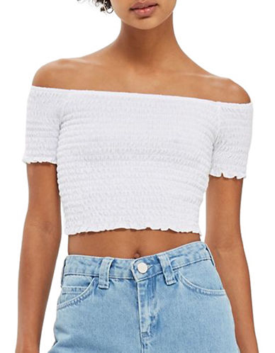 Topshop Shirred Bandeau Crop Top-WHITE-UK 6/US 2 89503410_WHITE_UK 6/US 2