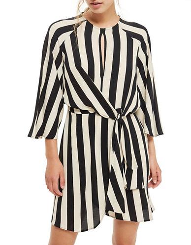 Topshop PETITE Stripe Knot Front Dress-MONOCHROME-UK 10/US 6