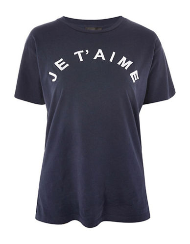 Topshop PETITE Je Taime Slogan T-Shirt-NAVY-UK 10/US 6