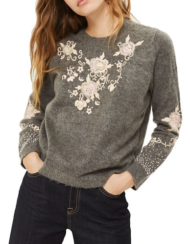 Topshop Fluffy Embroidered-GREY MARL-UK 6/US 2