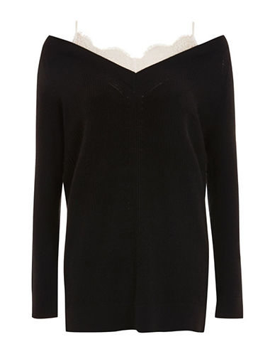 Topshop Wool-Blend Longline Sweater with Lace Cami Insert-BLACK-UK 8/US 4