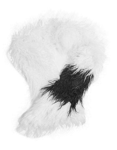 Topshop Faux Mongolian Fur Stole-CREAM-One Size