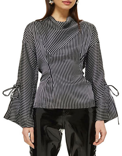 Topshop Striped Twisted Blouse-MONOCHROME-UK 14/US 10