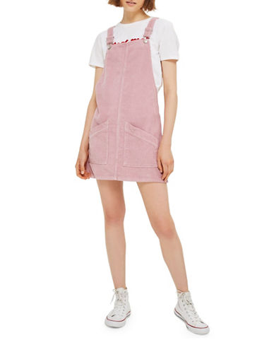 Topshop MOTO Cord Pinafore Dress-ROSE-UK 8/US 4