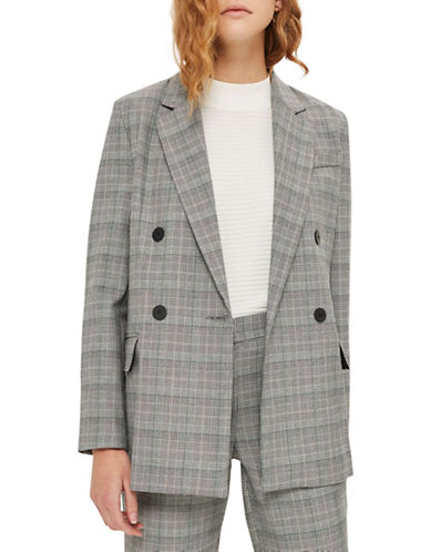 Topshop Checked Double-Breasted Blazer-GREY-UK 6/US 2