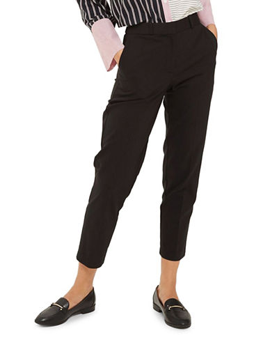 Topshop Slim Tapered Trousers-BLACK-UK 14/US 10