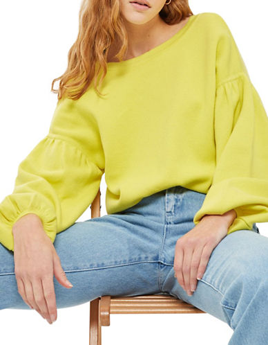 Topshop Balloon-Sleeved Sweater-YELLOW-UK 14/US 10