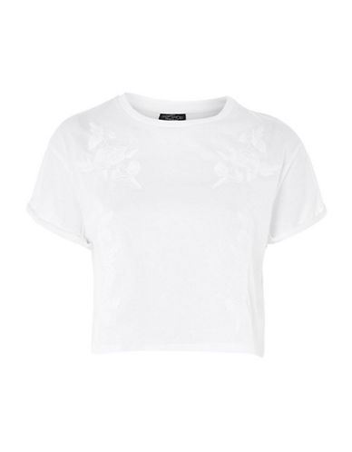 Topshop PETITE Embroidered Tee-WHITE-UK 4/US 0