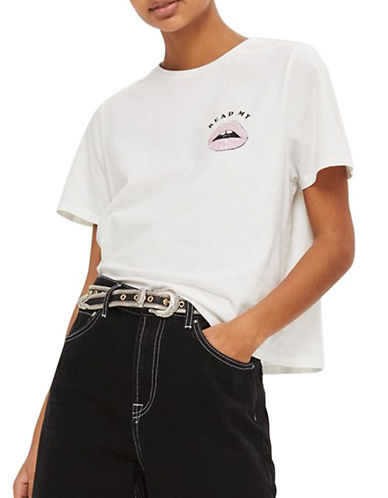 Topshop PETITE Read My Lips Slogan T-Shirt-WHITE-Small