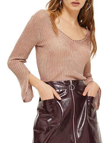 Topshop PETITE Metallic Ribbed Top-ROSE GOLD-UK 8/US 4
