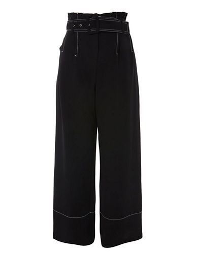 Topshop Stitch Buckle Trousers-BLACK-UK 8/US 4