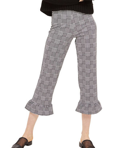 Topshop Check Ponte Trousers-MONOCHROME-UK 14/US 10