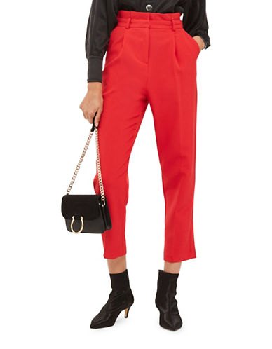 Topshop Pleated Cropped Trousers-RED-UK 6/US 2