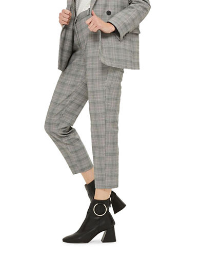 Topshop Check Tapered Leg Suit Trousers-GREY-UK 12/US 8