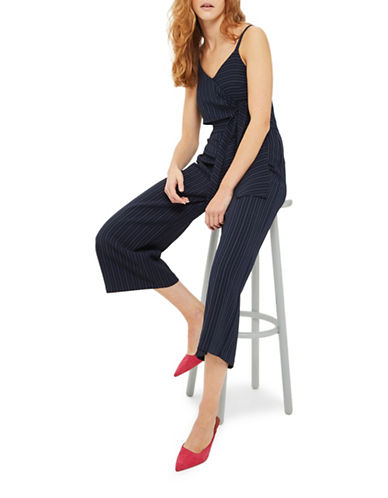 Topshop Stripe Tie Waist Jumpsuit-NAVY BLUE-UK 14/US 10
