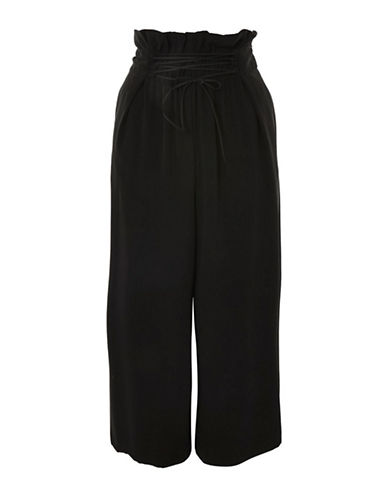 Topshop Lattice Front Crop Wide Pants-BLACK-UK 8/US 4
