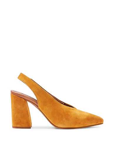 Topshop Georgia Leather Slingback Heels-MUSTARD-EU 37/US 6.5