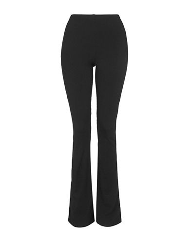 Topshop PETITE Skinny Rib Flared Trousers-BLACK-UK 6/US 2