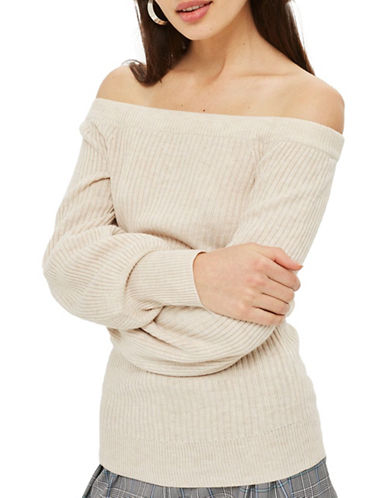 Topshop Cashmere Blend Ribbed Sweater-OATMEAL-UK 6/US 2