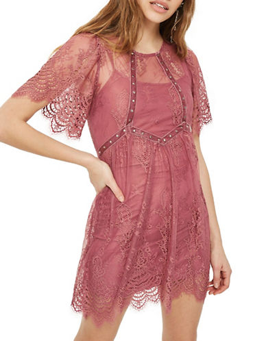 Topshop Velvet and Lace Flippy Dress-DARK PINK-UK 14/US 10