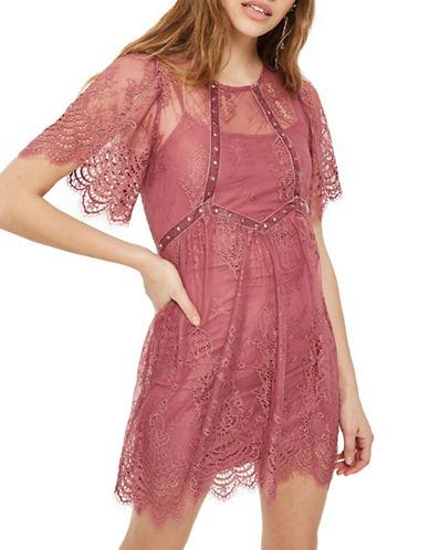 Topshop Velvet and Lace Flippy Dress-DARK PINK-UK 10/US 6