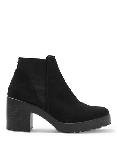Topshop Billie Suedette Ankle Boots-BLACK-EU 39/US 8.5