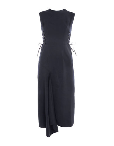 Topshop Corset-Side Midi Dress-NAVY BLUE-UK 10/US 6