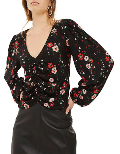 Topshop Floral Bloom Blouson Top-BLACK-UK 12/US 8