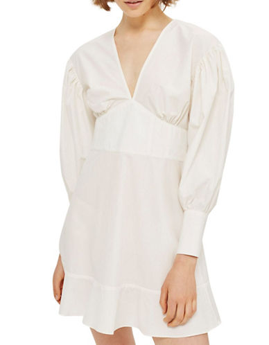 Topshop Balloon Sleeve Poplin Dress-WHITE-UK 8/US 4