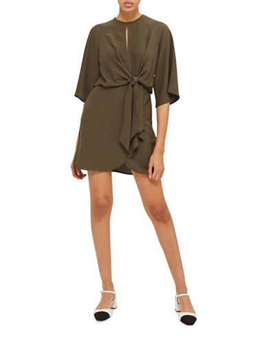 Topshop Knot Front Mini Dress-KHAKI-UK 6/US 2