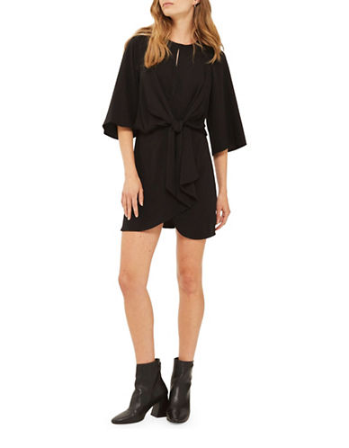 Topshop Linen-Blend Mini Dress-BLACK-UK 10/US 6