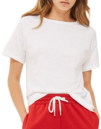 Topshop Marl T-Shirt-WHITE-UK 12/US 8