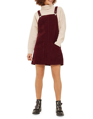 Topshop MOTO Cord Pocket Pinafore Dress-BURGUNDY-UK 6/US 2
