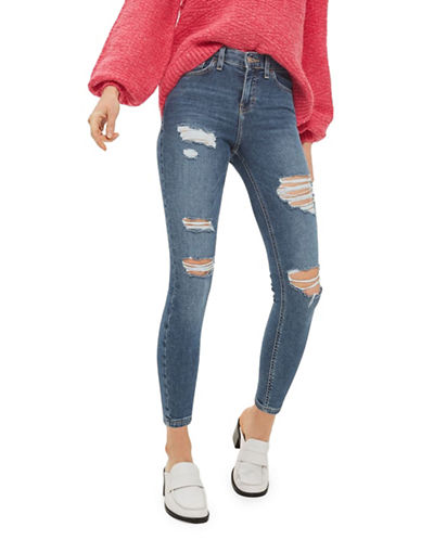 Topshop PETITE Super Rip Jamie Jeans 28-Inch Leg-MID DENIM-26X28